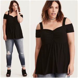 Torrid Cinch Front Cold Shoulder Babydoll Blouse